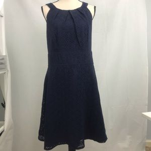 New York & Company Navy Eyelet Dress